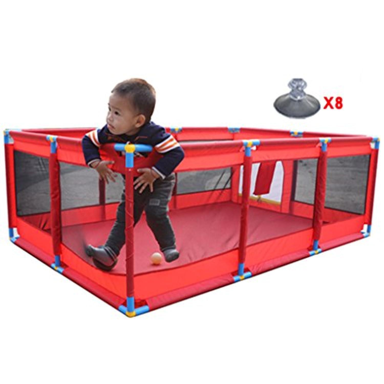 大人の男の子ガールズセーフティープレイセンターヤードポータブル折り畳み幼児赤ちゃん屋内屋外ホーム活動エリアレッドフェンス10パネル