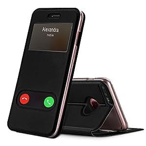 iphone8 plus ケース iphone7 plus ケース,Fyy 100%手作り 窓付きケース 良質PUレザー 軽量 超薄型 横開き 手帳型 耐衝撃保護ケース スタンド機能 マグネット式 スマホケース スマートフォンケース iPhone 8 Plus/7 Plus 用 ブラック