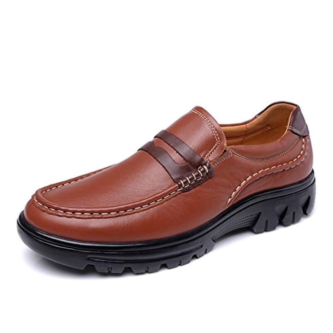 放射能流す静める[イノヤ]ビジネスシューズ メンズ 革靴 牛革 ラウンドトゥ 厚底靴 スリッポン カジュアルシューズ 通気穴 ドライビングシューズ 紳士靴 ローファー 防滑 歩きやすい革靴 通勤 オシャレ 黒 褐色