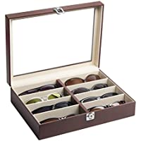 JackCubeDesign Leather 8 Compartments Eyeglass Display Organizer Eyeglasses Sunglass Storage Case Box Eyewear Tray Stand Suede Inside with Acrylic Cover(Brown, 17.4 x 6.7 x 1.97) - :MK379B