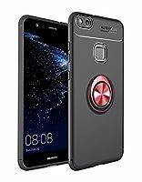 Huawei P10 lite 用 TPUソフトシェル ケースリング付き 指リングスタンド 衝撃 落下 防止 指紋防止 防水滑り止め 薄型 スタンド機能 車載ホルダー 360回転 3D Touch対応 おしゃれ 軽量 薄い 携帯カバー ブラック-レッド