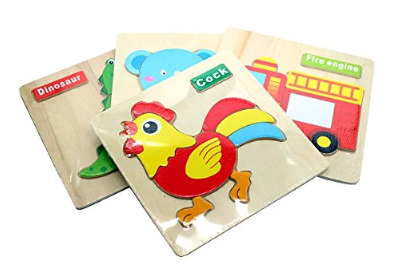 幸せな パズル 子供 英語勉強 木製 はみこめ 知育玩具 英語単語 教育玩具 積み木 幼児 動物認知 知能開発 啓蒙教育 脳活性化 形合わせ はめ込み 2wayおもちゃ 遊びながら英語を習う セット 3点 7点 14点 (3点(3種類))