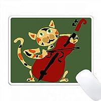 赤いチェロを演奏するおかしいカリコ猫 PC Mouse Pad パソコン マウスパッド