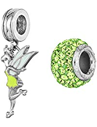 Disney Tinkerbell Sterling Silver Green Crystal Dangle Pixie Charm and Bead Set