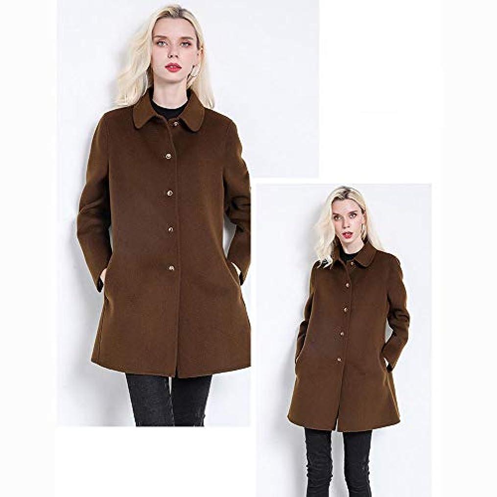 キャプチャー彼らはにやにやウールコート、秋と冬のコートソリッドカラーのウールコート両面ウールコートレディースジャケットレディース?コートレディースウインドブレーカージャケット,ブラウン,M