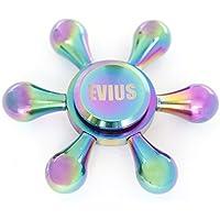 EVIUS (エビウス) ハンドスピナー 水道 hand spinner 指スピナー フォーカス 玩具 高回転 純銅 3~5分回転 超静音 高速スピン (レインボー)