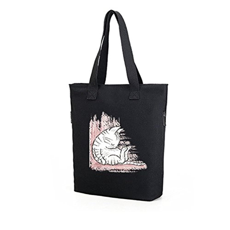 ショルダーバッグ レディース 帆布生地 大容量 バッグカジュアル 猫柄 通勤 通学