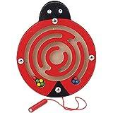 Creacom 木製 パズル マグネット 知育おもちゃ 迷路玩具 磁気 ペン 迷宮 ビーズ スロット オモチャ ボード 想像力育成 教育おもちゃ キッズ 子供 脳トレ ストレス解消 誕生日 入園祝い プレゼント ギフト (B)