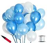 (ジンセルフ) JINSELF あんしん極厚風船 100個セット 弾力2倍 高品質 キラキラ光沢 誕生日 結婚式 パーティー 飾り 装飾 空気入れ ブルー