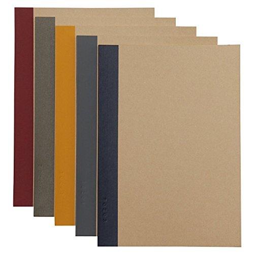 無印良品 植林木ペーパー裏うつりしにくいノート5冊組 A5・30枚・6mm横罫・背クロス5色