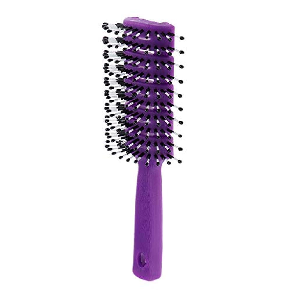 改修ポット別のヘアブラシ ユニセックス 静電防止櫛 ヘアケア ヘアスタイリング ヘアコーム 3色選べ - 紫