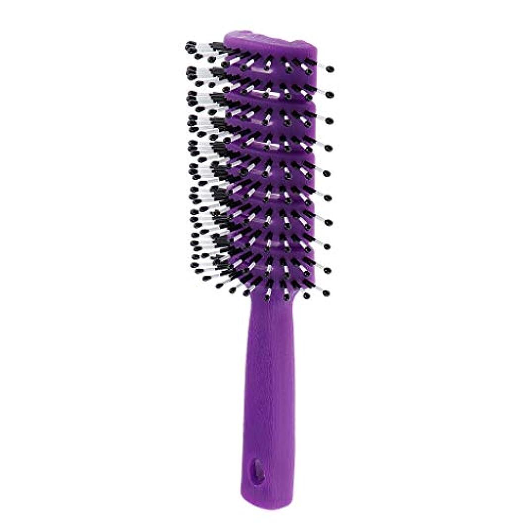 純粋なバスタブ母性F Fityle ヘアブラシ ユニセックス 静電防止櫛 ヘアケア ヘアスタイリング ヘアコーム 3色選べ - 紫