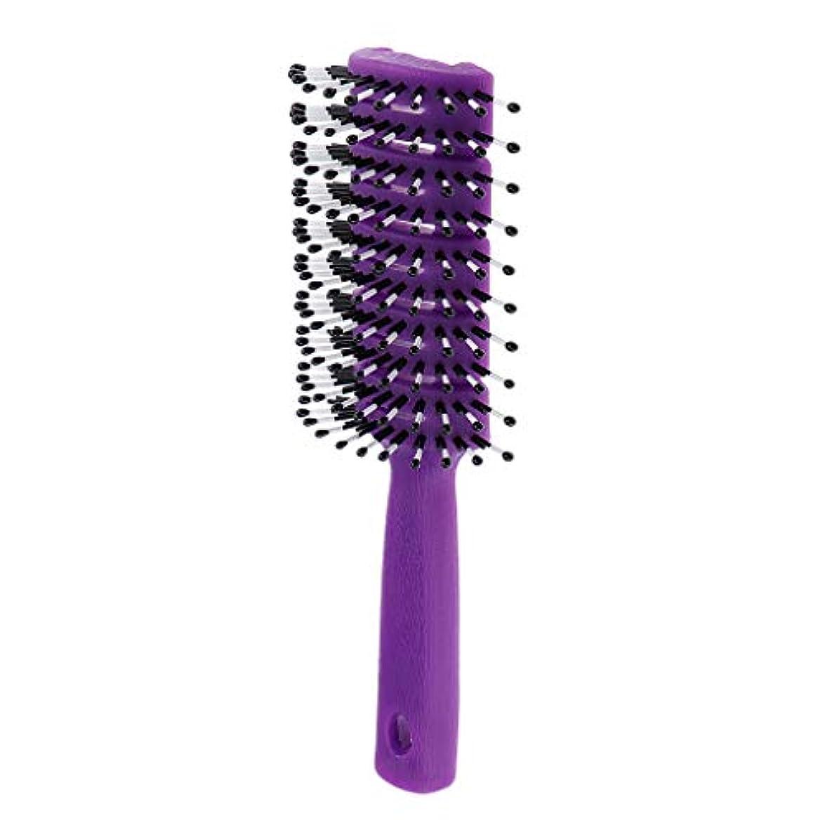 黒動くフィードオンヘアブラシ ユニセックス 静電防止櫛 ヘアケア ヘアスタイリング ヘアコーム 3色選べ - 紫