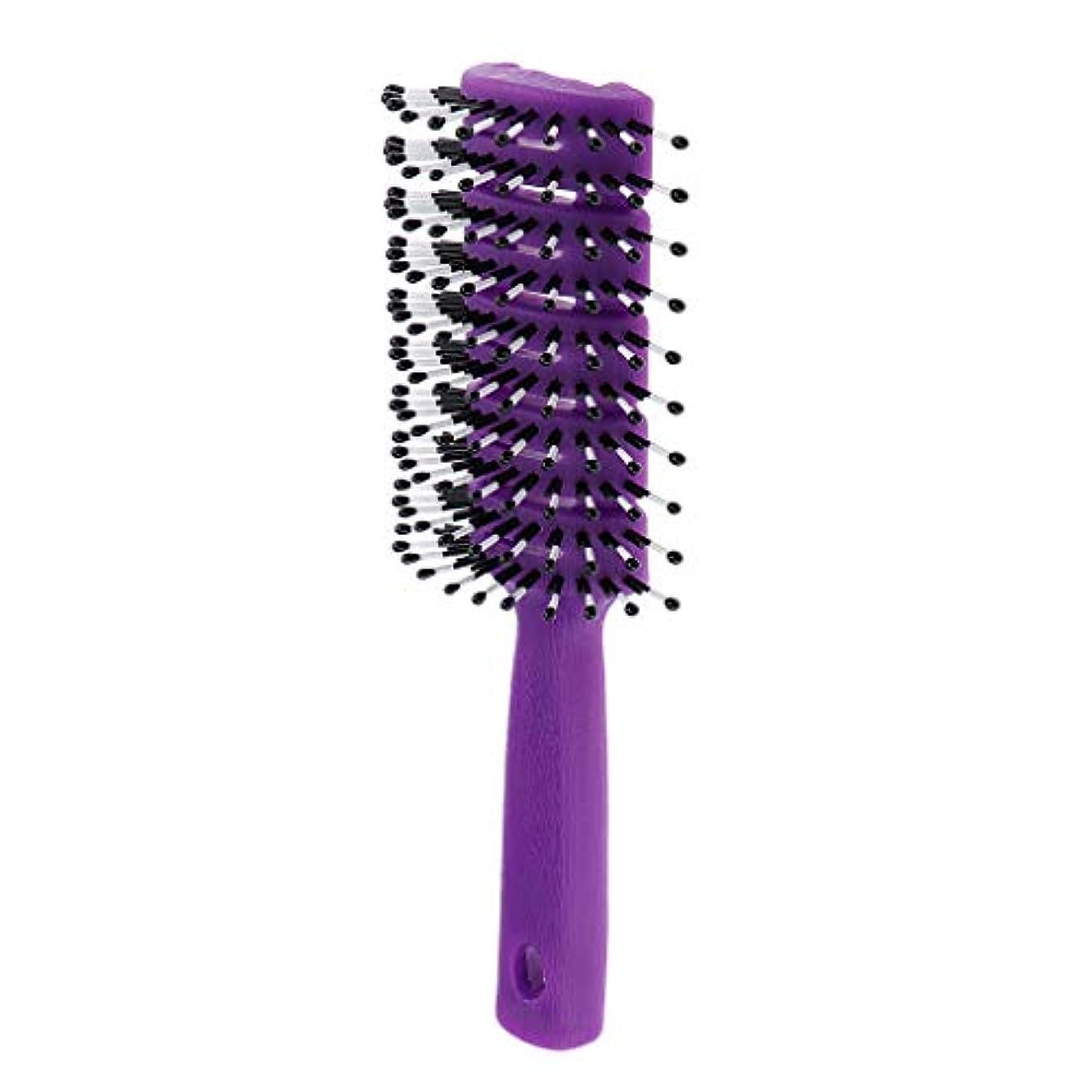 効能あるビン移行F Fityle ヘアブラシ ユニセックス 静電防止櫛 ヘアケア ヘアスタイリング ヘアコーム 3色選べ - 紫