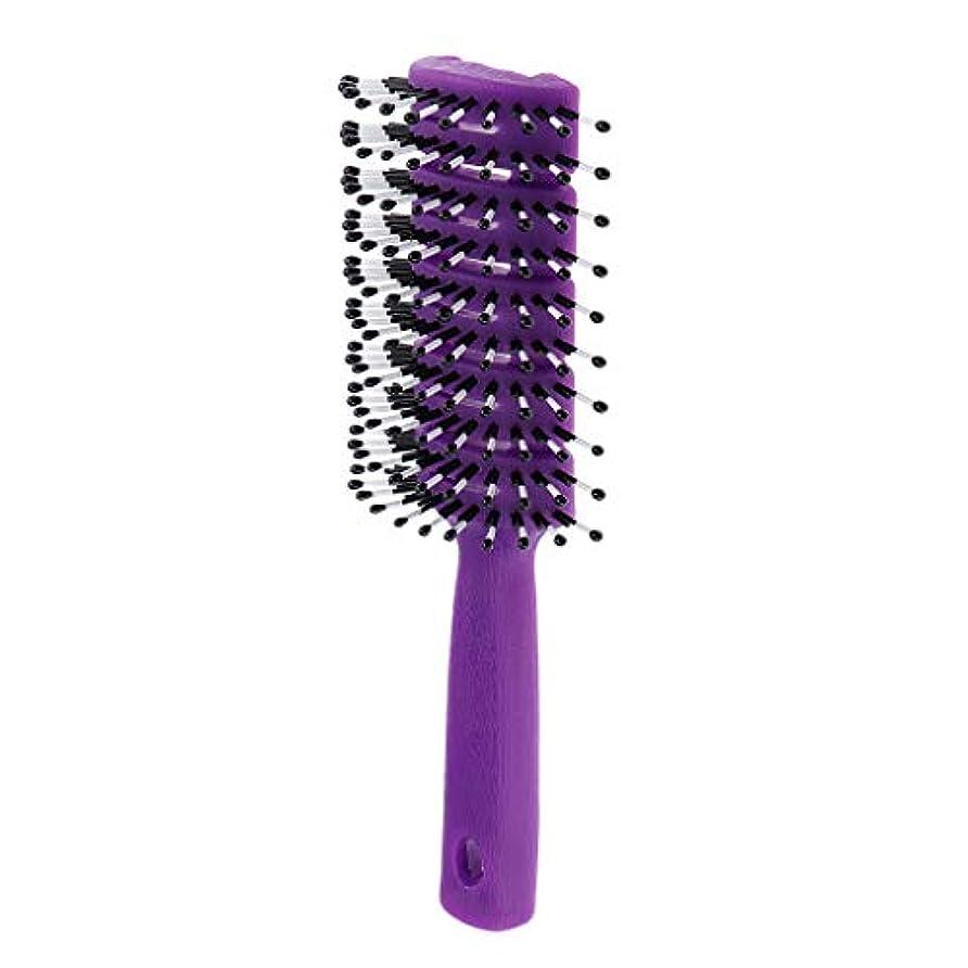 のスコア野ウサギ方向ヘアブラシ ユニセックス 静電防止櫛 ヘアケア ヘアスタイリング ヘアコーム 3色選べ - 紫