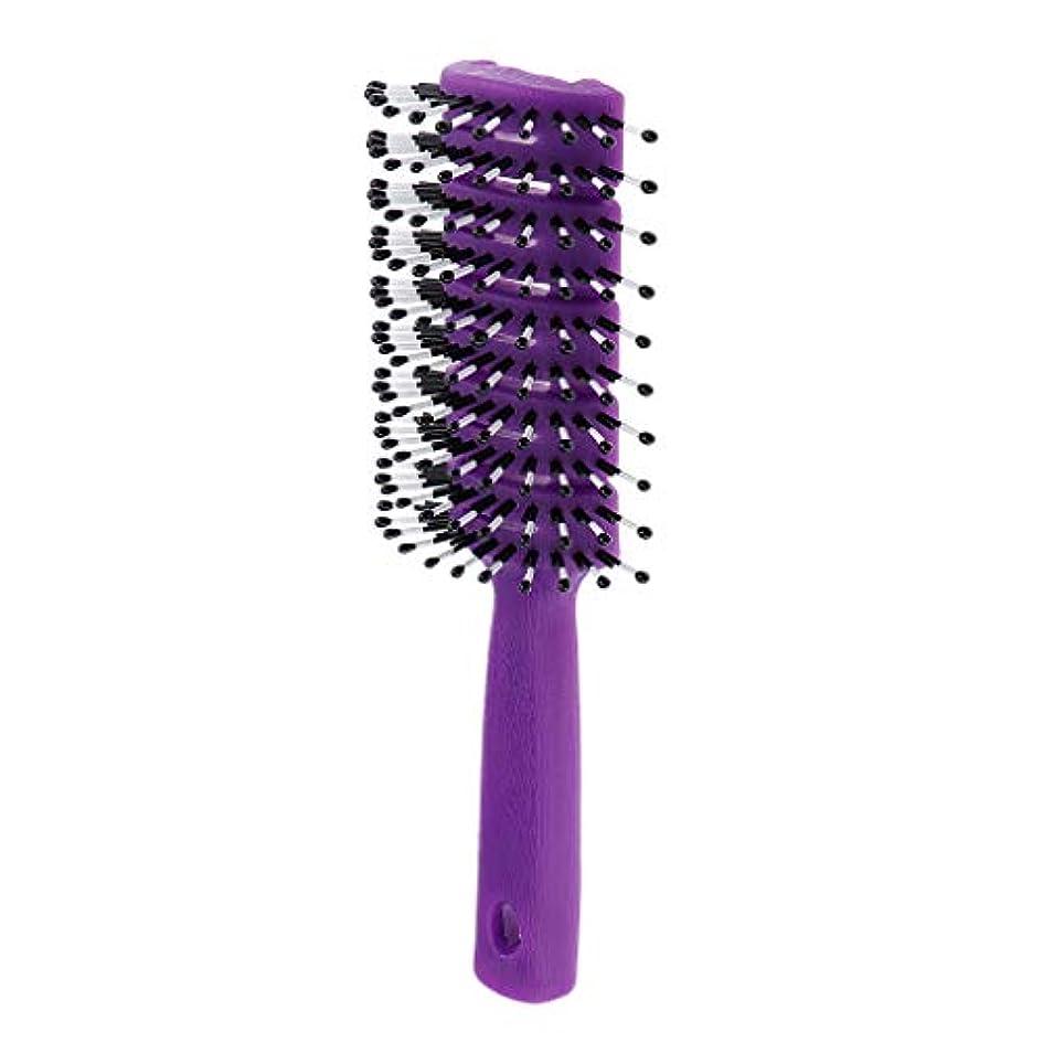バイオレットお勧め決してヘアブラシ ユニセックス 静電防止櫛 ヘアケア ヘアスタイリング ヘアコーム 3色選べ - 紫
