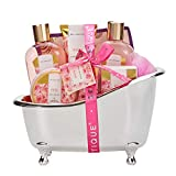 Spa Luxetique Spa Gift Basket, Rose Bath Gift Baskets, Bath Gifts for Women, Luxury 8 Pcs Home Bath Gift Set Includes Bath Bombs, Bath Salts, Bubble Bath, Body Lotion, Best Gift Set for Women.