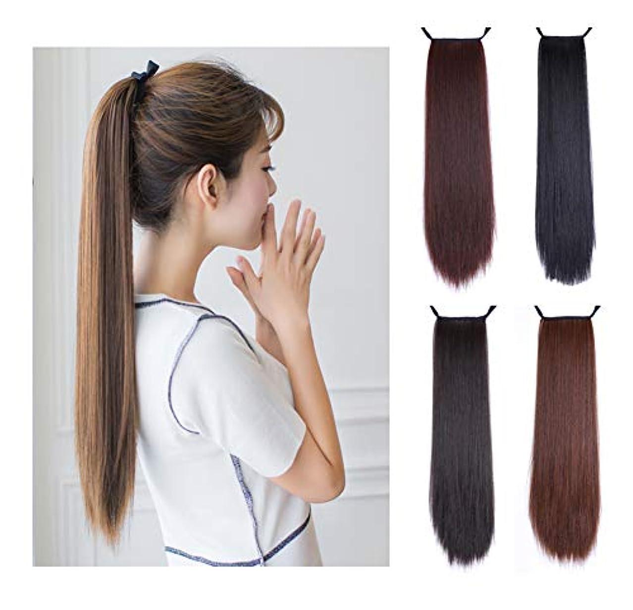 ポニーテール拡張、合成クリップの周りの包帯ラップ、滑らかで耐熱性の長いストレートヘアピース、異なる色