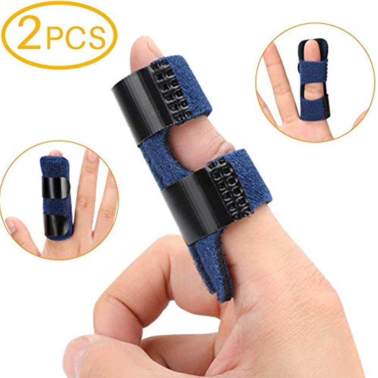 原油一時解雇するリファイン2PCSばね指スプリント、指拡張添え木指ブレース/指矯正ブレース/ばね指ブレース、通気内蔵アルミサポートトリガ、指剛性、変形性関節症、捻挫指の関節の痛みを軽減します