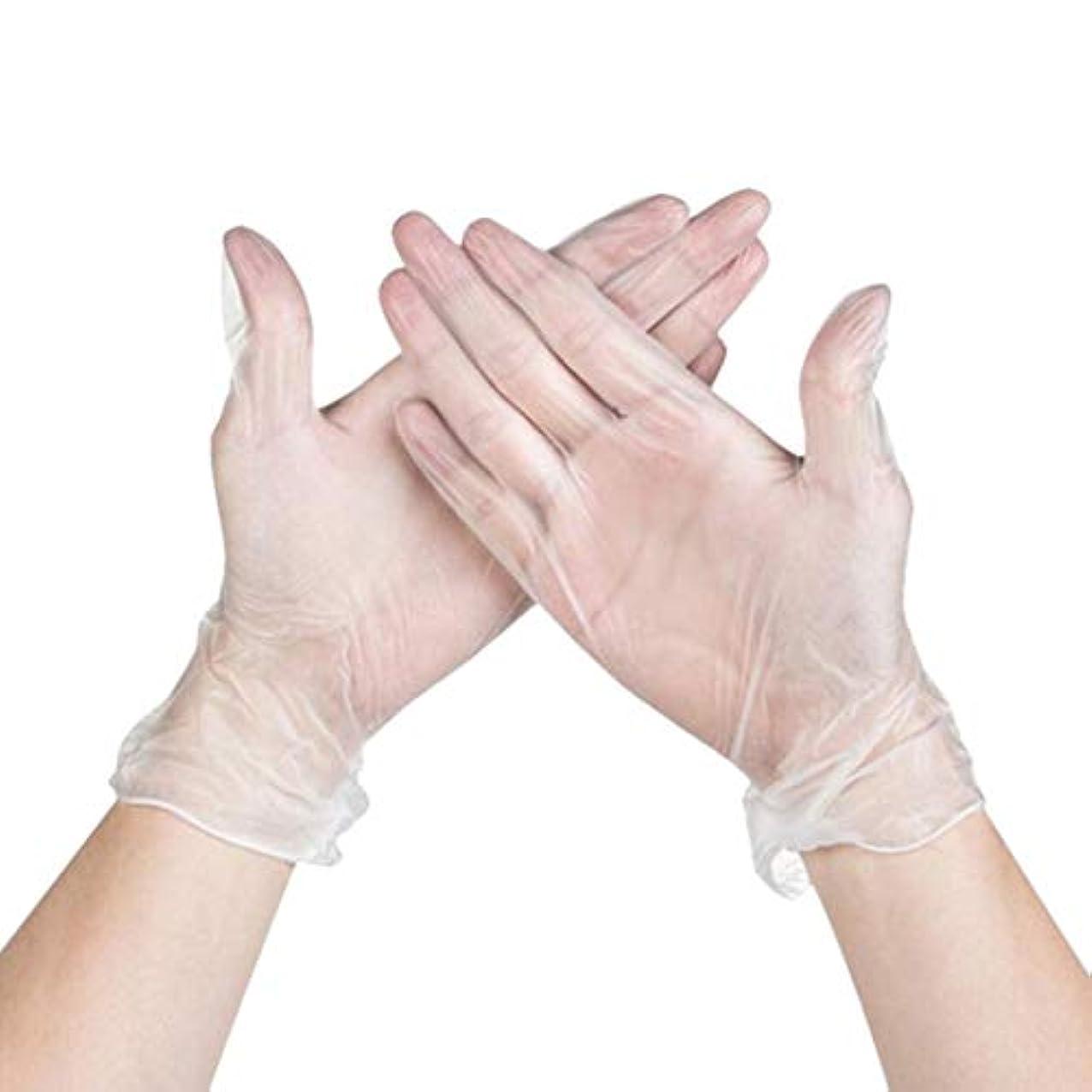 悪夢レビュアー禁止するPinji 使い捨て手袋 100枚入 透明 手袋 ポリエチレン 左右兼用 薄型 グローブ PVC手袋 耐油 料理 掃除 衛生 ホワイト 実用 医療 美容 科学実験 M