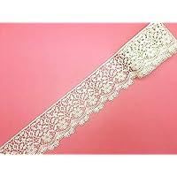 6cm  弾力なし、花モチーフ付刺繍入りレース、アクセサリー         テーブル掛け、カーテン、ウェディングドレス、DIY、服装装飾(1バック4ヤード)に適用すること。 (カーキ色)