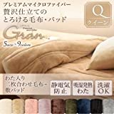 IKEA・ニトリ好きに。プレミアムマイクロファイバー贅沢仕立てのとろける毛布・パッド【gran】グラン 発熱わた入り2枚合わせ毛布+敷パッド クイーン | アンティークバニラ