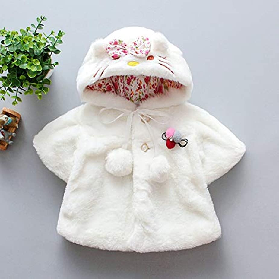 知り合いになる別の考えた子供服子供のマントの女の子秋と冬のウールセーターショール赤ちゃんかわいい耳コートマント-ホワイトS