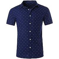 NUTEXROL Men's Premium Polka Dot Print Casual Shirt Short Sleeve Cotton Shirts Navy Blue