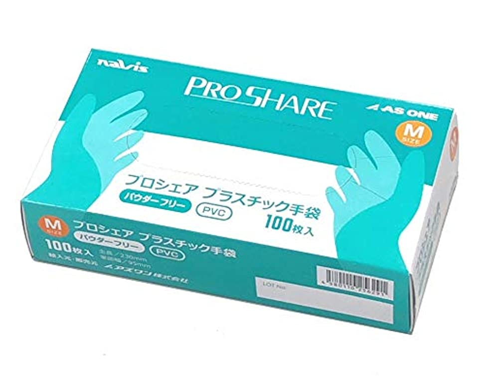 企業中央値清めるナビス プロシェア 使い捨て プラスチック手袋 パウダー無 M 1箱(100枚入) / 8-9569-02