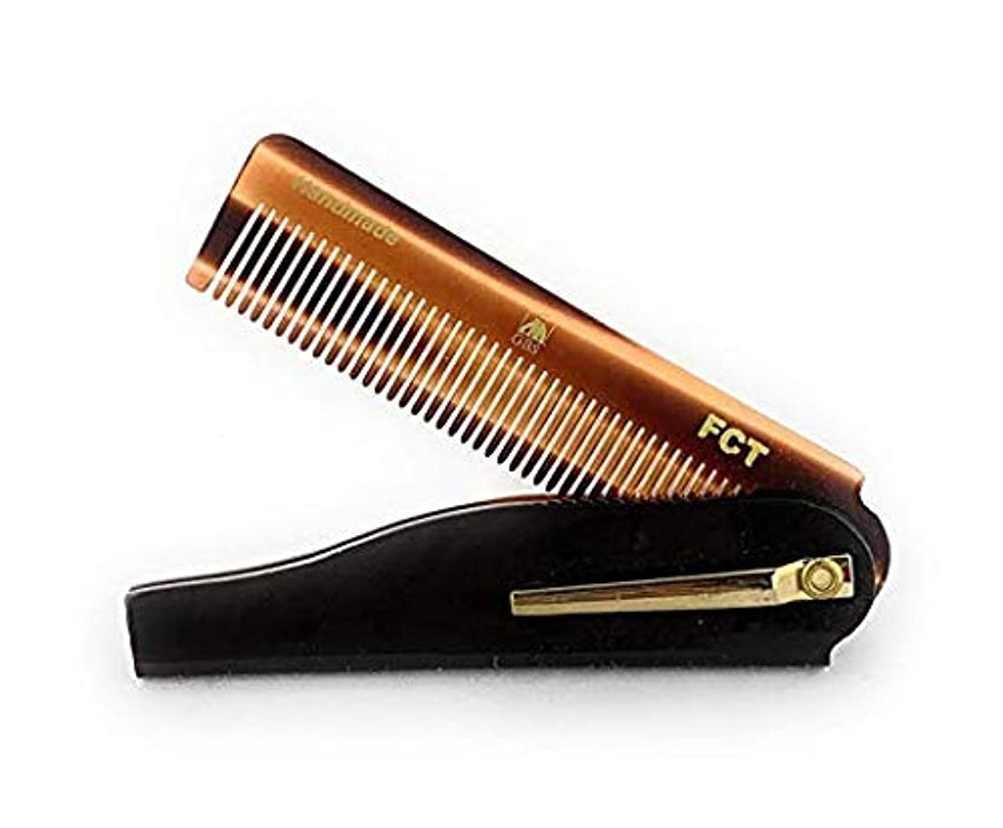 GBS Men's Folding Anti-Static No Snag All Purpose Hair and Beard Tortoise Comb- Handmade Sawcut - 100mm Fine Teeth...