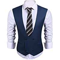 Coofandy Men's Double Breasted Waistcoat Business Casual Slim Fit Suit Vests