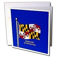 777imagesフラグとマップ–States–揺れるメリーランド州の旗with状態名前とニックネーム–グリーティングカード Set of 12 Greeting Cards