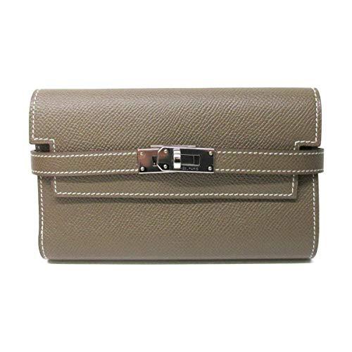 [エルメス] HERMES ケリーウォレット・コンパクト 二つ折財布 財布 エトープ(シルバー金具) ヴォーエプソン [中古]