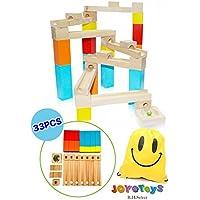 木製 積み木 ビー玉 転がし スロープおもちゃ カラフル ブロック パズル 立体 迷路 知育玩具 つみ木 誕生日 クリスマス プレゼント 問題解決力 論理的思考 を育む (JOY@slopeN 33PCS)