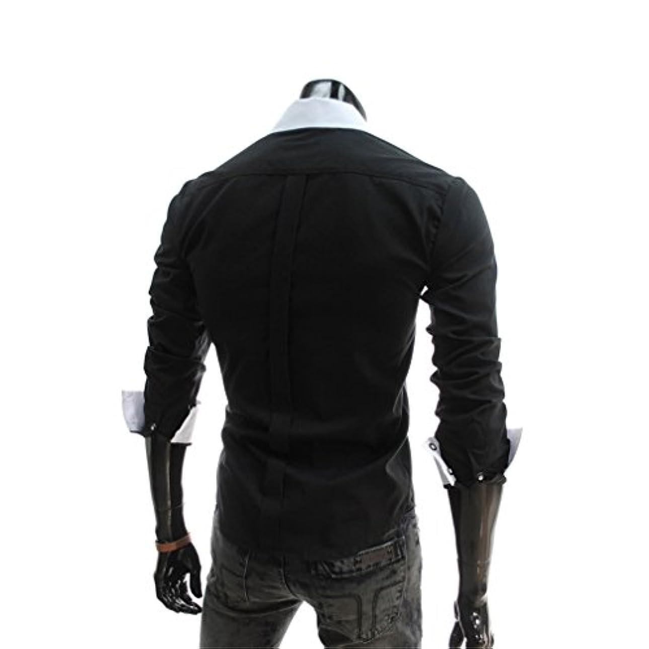 汗くさびアドバンテージHonghu メンズ シャツ 長袖 スリム  ブラック L 1PC