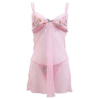 (ムレナ)MURENA リゾートフラワーシースルーキャミ&Gストリングセット(PI-ピンク、Free)
