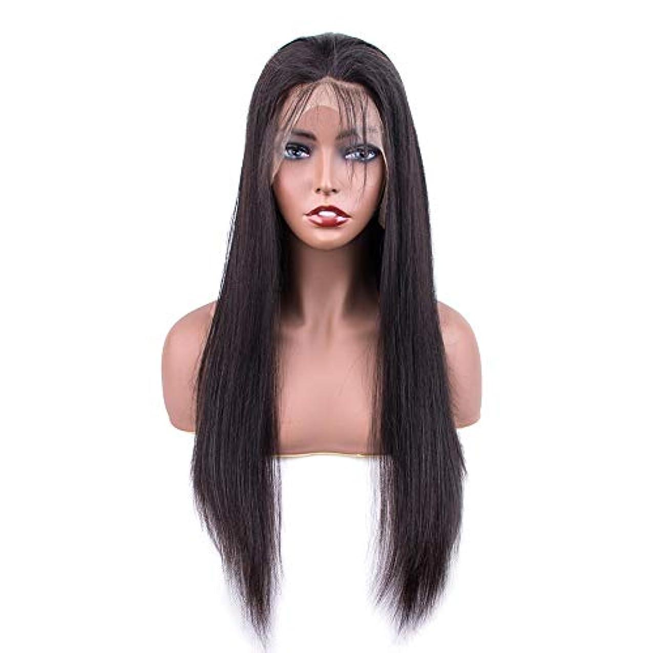 SRY-Wigファッション ファッションレースフロント人間の髪の毛のかつら女性の事前摘み取られた生え際ブラジルストレートレース前頭かつら赤ちゃんの髪 (Color : ブラック, Size : 10inch)