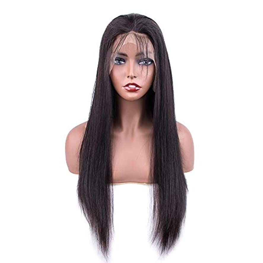 メンダシティアラーム買い物に行くSRY-Wigファッション ファッションレースフロント人間の髪の毛のかつら女性の事前摘み取られた生え際ブラジルストレートレース前頭かつら赤ちゃんの髪 (Color : ブラック, Size : 10inch)