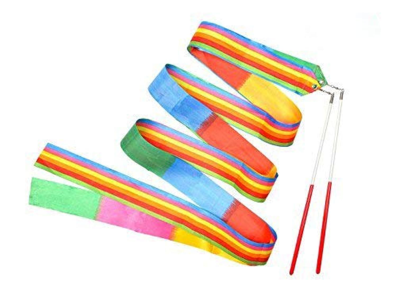 Yolito 4本 ダンスリボン(2メートル) 新体操リボンセット 子供の専用スポーツ用具 体操専用 虹