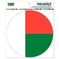 マダガスカルナショナルカントリー旗 - サークル MAG-格好いい'S(TM)カー/冷蔵庫マグネット