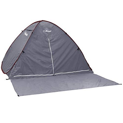 Villimetsa テント ワンタッチ ポップアップ UVカット メッシュスクリーン 軽量 2人用 グレー