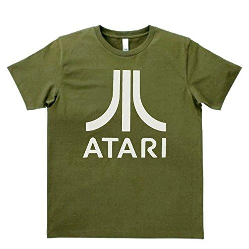 【ノーブランド品】デザイン オールド企業ロゴ ATARI Tシャツ カーキー...