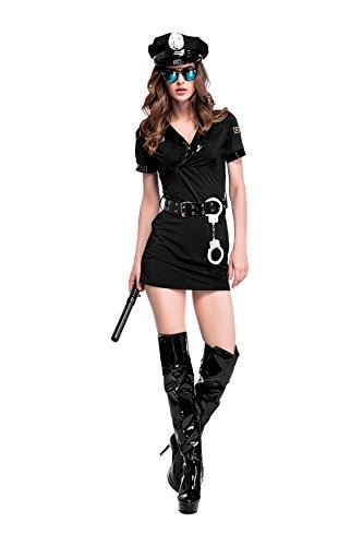 コスプレ衣装 ポリス 婦人警官 コスチューム 警察 セクシー 手錠 5点セット レディース 大人用 フリーサイズ ブラック PS7046