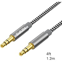 オーディオケーブル Kinps AUX接続用 高音質再生 ステレオミニプラグ 金メッキ端子 織編ナイロン3.5mmオーディオインタフェース対応 十二ヶ月保証 1.2m (オス/オス)