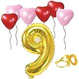 誕生日パーティー ハート型風船  飾り付け ゴールド 数字(9) 天然ゴム 風船セット(h1-f09)