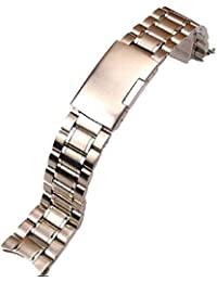 気分転換! 腕時計 交換ベルト ステンレス 無垢 3連 弓カン式 プッシュ式 (シルバー  20mm)