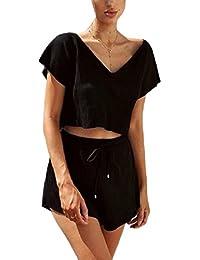 Tootess 女性のプラスサイズの2つの部分のさりげない暇なセクシーなネックショートパンツセット
