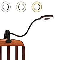 ポータブル 7W LED USB 調光可能 読書灯 目に優しい クリップ式 デスクランプ 本 ベッド ヘッドボード ベッドサイド メイクアップテーブル コンピューター ピアノ 安定したクランプ 11レベルの明るさ 3色モード ブラック/シルバー ブラック