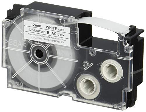 ネームランドテープ キレイにはがせて下地がかくせる 12mm 白テープ 黒文字 1個 XR-12GCWE