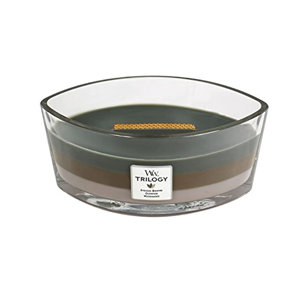 未接続文芸排出WoodWick Trilogy cosy CABIN, 3-in-1 Highly Scented Candle, Ellipse Glass Jar with Original HearthWick Flame, Large...